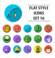 fishing set icons in flat style big collection of vector image vector image