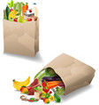 fresh vegetables and fruits in a paper bag vector image