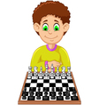 funny boy cartoon playing chess vector image