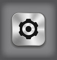 Gear icon - metal app button vector image vector image