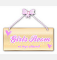 girls room sign vector image vector image