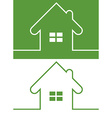 Green House Icon with Window Reversed colors vector image vector image