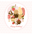 Greeting card with cute ice-cream and cakes vector image