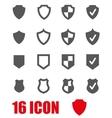 grey shield icon set vector image vector image