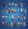 isometric men character set different professions vector image