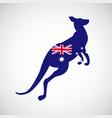kangaroo with australian flag silhouette isolated