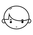 line child boy face with hairstyle design vector image vector image