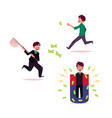 man businessman tring to grab flying money vector image