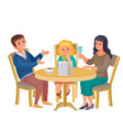 man woman and girl are sitting at a round table vector image vector image
