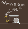 Modern computer media with different icons vector image vector image