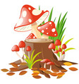 mushrooms on the log vector image vector image