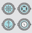 nautical elements collection vector image vector image