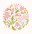 round floral backdrop or circular decorative vector image