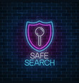 safe web search service glowing neon sign vector image vector image