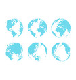 set of dotted style globe and map vector image vector image