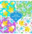 set patterns with rabbits flowers and vector image