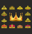 shiny luxurious crowns of gold with gemstones set vector image vector image