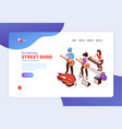 street band landing page vector image vector image