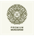 Stylish floral monogram line art vector image vector image