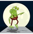Thoughtful alien performs moonwalk dance vector image vector image