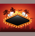 vegas casino neon sign in front or cityscape vector image vector image