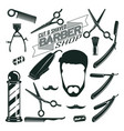 vintage barbershop elements collection vector image vector image