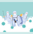 virus disinfection men in protective suit vector image vector image