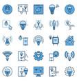 wifi light bulb colored icons set smart vector image