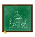 Castle drawing on blackboard art vector image