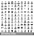 100 people icons set in simple style vector image vector image