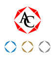 a c letter initial with frame logo template vector image