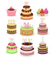 birthday cake set isolated on white vector image vector image