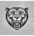 Black and grey tiger head logo on dirty plaster vector image vector image