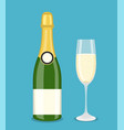 bottle champagne and glasses vector image