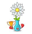 boxing winner mascot beautiful flower in vase vector image vector image