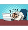 Businessman working on laptop fatigue sleep vector image vector image