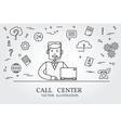 Call center thin line design Call center pen Icon vector image vector image