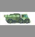 camouflaged military truck green wheeled lorry vector image vector image