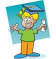 Cartoon Boy Holding a Diploma vector image