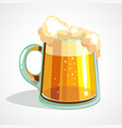 cartoon glass of light beer vector image vector image