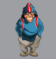 cartoon pensive man in glasses and hood vector image vector image