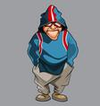 cartoon pensive man in glasses and hood vector image