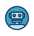 chat bot icon outline robot sign in blue circle vector image