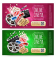 cinema flyers with gift vector image vector image