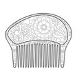 comb for the hair coloring book for adult vector image vector image
