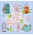 Cute hand drawn teapots cups and cupcakes vector image vector image