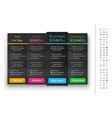 dark pricing table with 4 plans and one vector image vector image