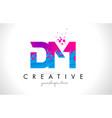 dm d m letter logo with shattered broken blue vector image vector image