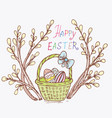 doodle spring is willow easter eggs vector image