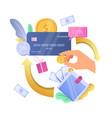 earn cashback bonus cash back credit card reward vector image